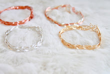 Rose Gold, Gold, and Silver Braided Bracelet that Gives Back to Charity by ROX Jewelry in Austin, Texas » Great Gift ideas for her under $35 » Dainty Bracelets for her Tri-Color Bracelet