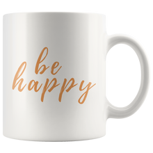 Be Happy Mug that gives back to charity from ROX Jewelry's Purely Positive Collection coffee mugs for a cause orange