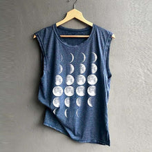 Moon Shirt in Blue Shirts that Give Back – Women's gift ideas under $30 Lunar phases sleeveless shirt that gives back to charity by ROX Apparel