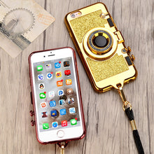 Gold Phone Case Shaped like a Camera with Glitter – On Trend Phone Cases – iPhone xr x xs phone case – Fashionable iPhone cases for her that give back to charity – Under $25 Gift Ideas