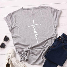 Light Gray Faith Cross Shirt that Gives Back to Charity – Gifts for Chrisitan Women – ROX Apparel and More – Gifts for her under $30