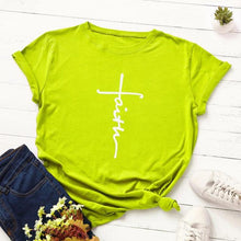 Lime Green Faith Cross Shirt that Gives Back to Charity – Gifts for Chrisitan Women – ROX Apparel and More – Gifts for her under $30