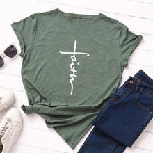 Army Green Faith Cross Shirt that Gives Back to Charity – Gifts for Chrisitan Women – ROX Apparel and More – Gifts for her under $30