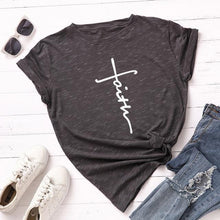 Dark Gray Faith Cross Shirt that Gives Back to Charity – Gifts for Chrisitan Women – ROX Apparel and More – Gifts for her under $30