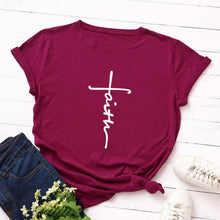 Burgundy Faith Cross Shirt that Gives Back to Charity – Gifts for Chrisitan Women – ROX Apparel and More – Gifts for her under $30