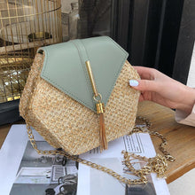 "Straw and Tassel ""Sunny Days"" Bag in Green – Straw Bag – Tassel Purse under $50 – Purses that Give Back to Charity by ROX Jewelry Shop – Affordable Gift Ideas for Her"