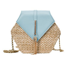 "Straw and Tassel ""Sunny Days"" Bag in Sky Blue – Straw Bag – Tassel Purse under $50 – Purses that Give Back to Charity by ROX Jewelry Shop – Affordable Gift Ideas for Her"