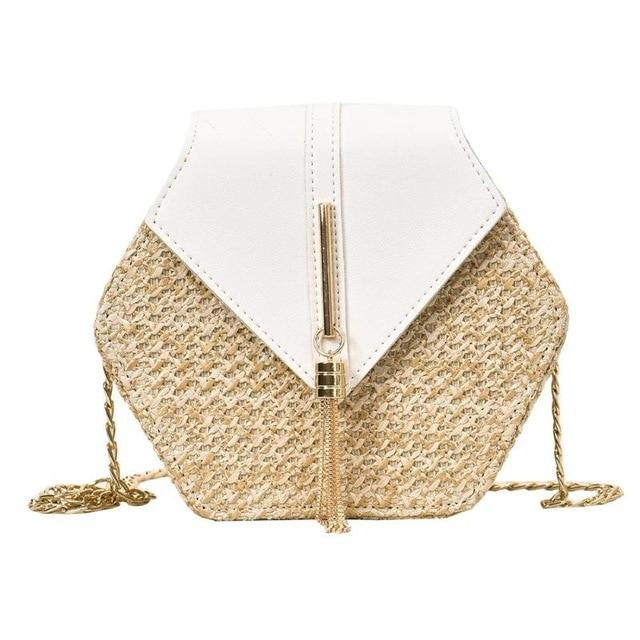 "Straw and Tassel ""Sunny Days"" Bag in White – Straw Bag – Tassel Purse under $50 – Purses that Give Back to Charity by ROX Jewelry Shop – Affordable Gift Ideas for Her"