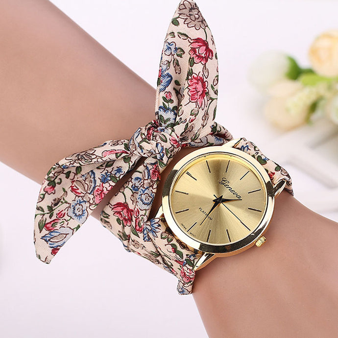Red and Green Floral Scarf Wrapped Watch that Gives Back to Charity by ROX Jewelry in Austin, Texas » Great Gift ideas for her under $40