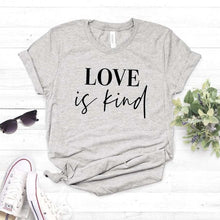 Love is Kind Shirt in Gray – Kind Shirt – Apparel that Gives Back to Charity by ROX Shirts in Kindness Collection – Positive Apparel – Casual Outfit Ideas