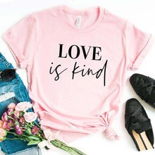 Love is Kind Shirt in Pink – Kind Shirt – Apparel that Gives Back to Charity by ROX Shirts in Kindness Collection – Positive Apparel – Casual Outfit Ideas