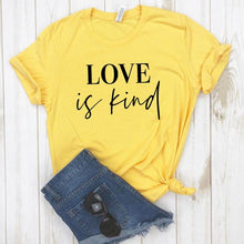 Love is Kind Shirt in Yellow – Kind Shirt – Apparel that Gives Back to Charity by ROX Shirts in Kindness Collection – Positive Apparel – Casual Outfit Ideas