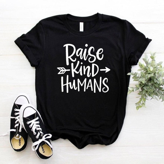Raise Kind Humans Arrow Shirt in Black – Kind Shirt – Apparel that Gives Back to Charity by ROX Shirts in Kindness Collection – Positive Apparel – Casual Outfit Ideas