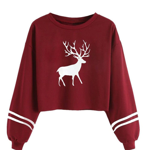 Reindeer Pullover Sweatshirt in Red – Christmas Sweaters – Baddie Outfits – Trendy Sweatshirts for Her – Cold Weather Outfit Ideas – ROX the gift that gives back™ – Gift Ideas for Her Under $50