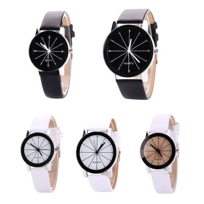 White, Black, and White and Brown Leather Unisex Watch – Minimalist Monochromatic Watch ROX Jewelry – Gifts that Give Back Under $30