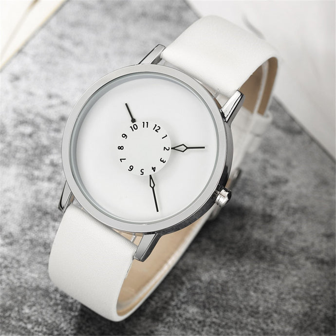 All White Leather Women's Watch with Unique Watch Face – Minimalist Monochromatic Watch ROX Jewelry – Gifts that Give Back Under $40