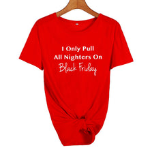 I Only Pull All Nighters On Black Friday Shirt in Red with White Text – Black Friday Outfit Ideas – Holiday Themed Casual shirts – Cold Weather Outfit Ideas – ROX the gift that gives back™ – Gift Ideas for Her Under $25