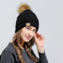 Knit Pom Pom Beanie in Black – Vegan Fur Pom Beanie – Gifts that Give Back – ROX Winter Accessories for Her – Vegan Gift Ideas Under $30