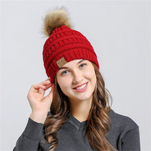 Knit Pom Pom Beanie in Red – Vegan Fur Pom Beanie – Gifts that Give Back – ROX Winter Accessories for Her – Vegan Gift Ideas Under $30