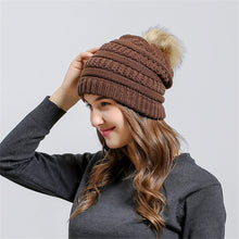 Knit Pom Pom Beanie in Coffee – Vegan Fur Pom Beanie – Gifts that Give Back – ROX Winter Accessories for Her – Vegan Gift Ideas Under $30