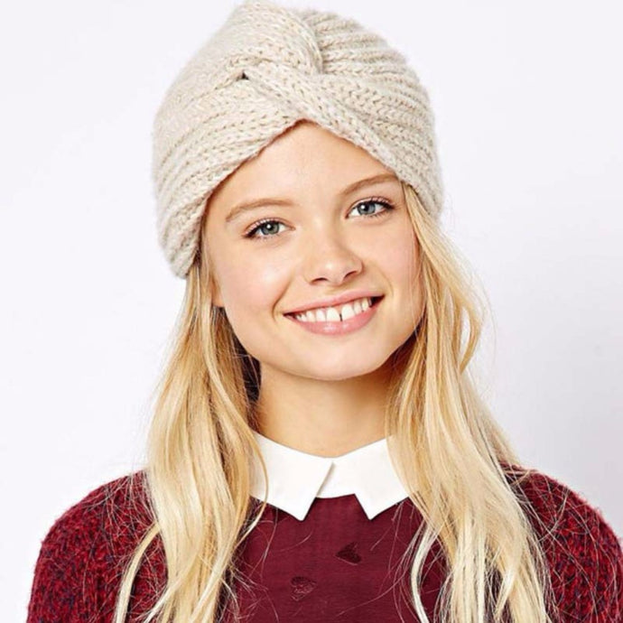 Knitted Beanie in Cream – Cross Knitted Turban Beanie – Gifts that Give Back – ROX Winter Accessories for Her – Gift Ideas Under $25