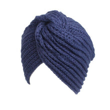 Knitted Beanie in Blue – Cross Knitted Turban Beanie – Gifts that Give Back – ROX Winter Accessories for Her – Gift Ideas Under $25