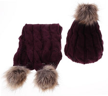 Knit Hat and Scarf Set with Pom Pom Beanie in Burgundy – Faux Fur – Vegan Gift Ideas – Gifts that Give Back – ROX Winter Accessories for Her