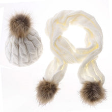 Knit Hat and Scarf Set with Pom Pom Beanie in White – Faux Fur – Vegan Gift Ideas – Gifts that Give Back – ROX Winter Accessories for Her