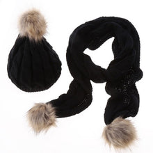 Knit Hat and Scarf Set with Pom Pom Beanie in Black – Faux Fur – Vegan Gift Ideas – Gifts that Give Back – ROX Winter Accessories for Her