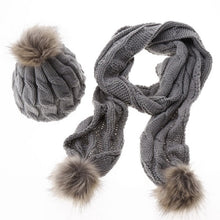 Knit Hat and Scarf Set with Pom Pom Beanie in Gray – Faux Fur – Vegan Gift Ideas – Gifts that Give Back – ROX Winter Accessories for Her