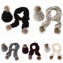 Knit Hat and Scarf Set with Pom Pom Beanie – Faux Fur – Vegan Gift Ideas – Gifts that Give Back – ROX Winter Accessories for Her
