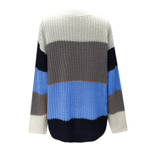 Striped Sweater in Blue – Chunky Knit Sweater – Neutral striped sweater – Color Blocked Sweaters – Trendy Sweaters that Give Back to Charity – ROX. the gift that gives back™