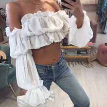 Stagecoach Long Sleeve Crop Top  in white – cute outfits top outfit jeans – date night outfit – casual summer outfit – puff sleeve – long sleeve shirt – long sleeve crop tops – Crop top outfit – puff sleeve long sleeve shirt Top Outfit Ideas Summer – long sleeve sheer Cute tops – crop tops – puffy sleeve top outfits