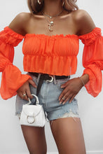 Stagecoach Long Sleeve Crop Top  in orange – cute outfits top outfit jeans – date night outfit – casual summer outfit – puff sleeve – long sleeve shirt – long sleeve crop tops – Crop top outfit – puff sleeve long sleeve shirt Top Outfit Ideas Summer – long sleeve sheer Cute tops – crop tops – puffy sleeve top outfits