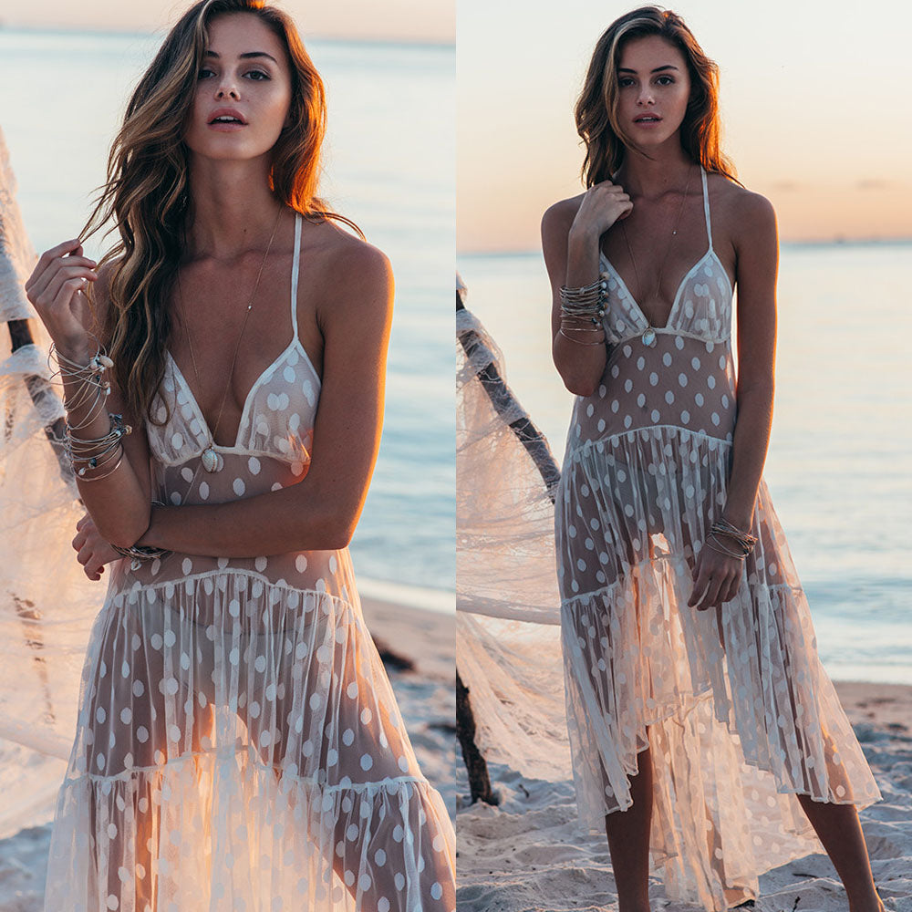 Summer Romance Swimsuit Cover Up – Swimsuit coverups beach – swimsuit coverups boho – Beach cover up – bathing suit cover up – beachwear for women – swimsuit cover up – summer 2020 beach outfit – beach vacation outfit – must have beach outfit – coverups that give back to charity - polka dot swimsuit coverup