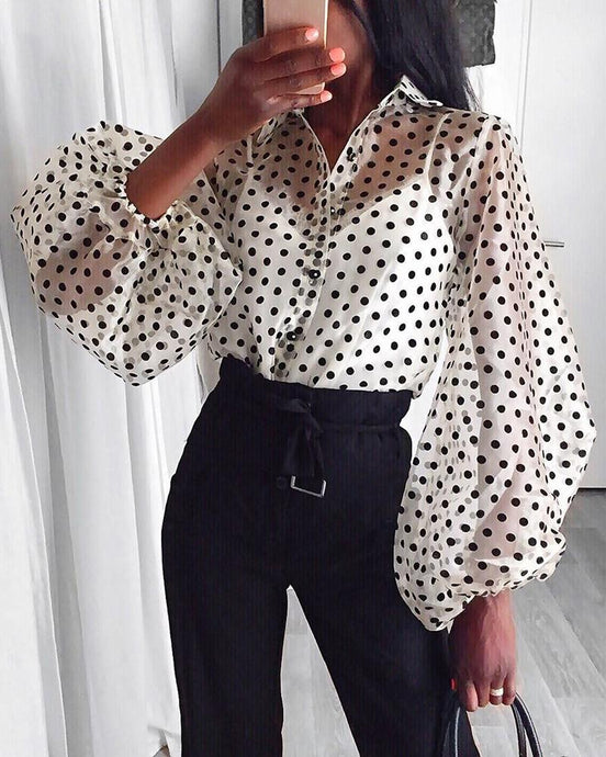 Posh Polka Dot Sheer Long Sleeve Top in White – cute outfits top outfit jeans – date night outfit – casual summer outfit – puff sleeve – long sleeve shirt – sheer long sleeve tops – Crop top outfit – puff sleeve long sleeve shirt – Crop Top Outfit Ideas Summer – long sleeve sheer Cute tops – polka dot tops – puffy sleeve top outfits