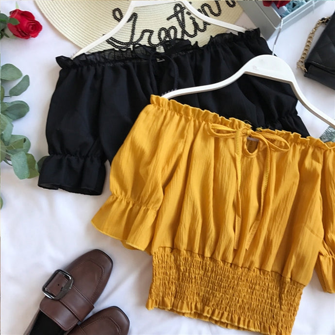 Ruched Off the Shoulder Crop Top – cute outfits top outfit jeans – date night outfit – casual summer outfit – puff sleeve – off shoulder sleeve shirt – crop tops – Crop top outfit – best crop Top Outfit Ideas Summer – long sleeve sheer Cute tops – crop tops – trendy shirt top outfits