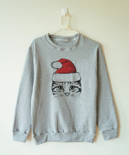 Christmas Cat in a Santa Hat Sweatshirt that Gives Back to Charity » Great Gifts for Cat Lovers » ROX