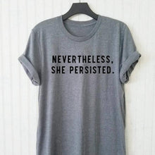ROX Jewelry Shop - Nevertheless, She Persisted Elizabeth Warren Quote Shirt in Gray Grey with Black letters Blogger style feminism empowering women strong
