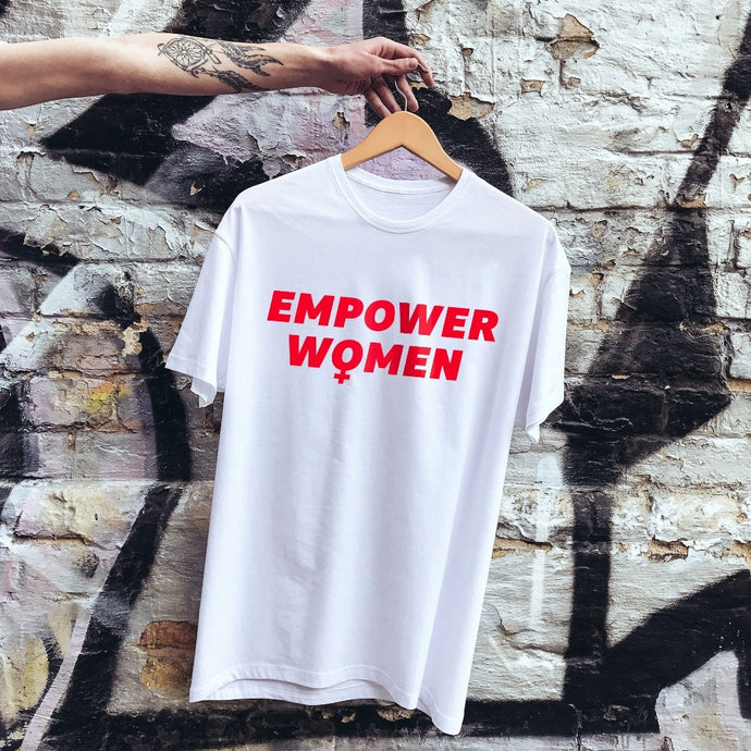 Empower Women Shirt in White that Gives Back to Charity – Feminist Gift – Gifts that Empower Women – ROX Apparel for Her Under $25 – the gift that gives back™