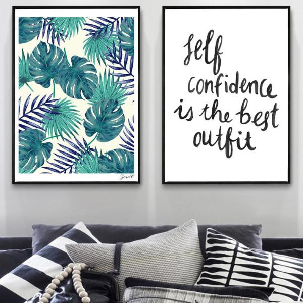 ROX Jewelry Shop - Charity Prints Self Confidence Tropical Palm Canvas Posters and Prints, Wall art Quotes Painting Picture for Living Room Scandinavian Fresh Leaf Home Decor