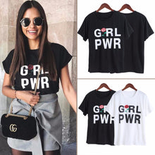 ROX Jewelry Shop - Empowering Women Girl Power GRL PWR White Fashion Tumblr Style T-Shirt with Rose Design Perfect Gift Ideas Birthday Holiday Season Girl Woman