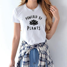 Powered by Plants Vegan Vegetarian Themed Tee T-Shirt that Gives Back to Charity by ROX Jewelry a Company Based in Austin Texas that gives back