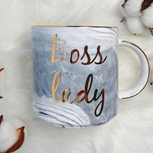Boss Lady Marble Coffee Mug With Metallic Letters that Gives Back to Charity by ROX » Empowering Women Collection » Great Girl Boss Gift Ideas Under $25