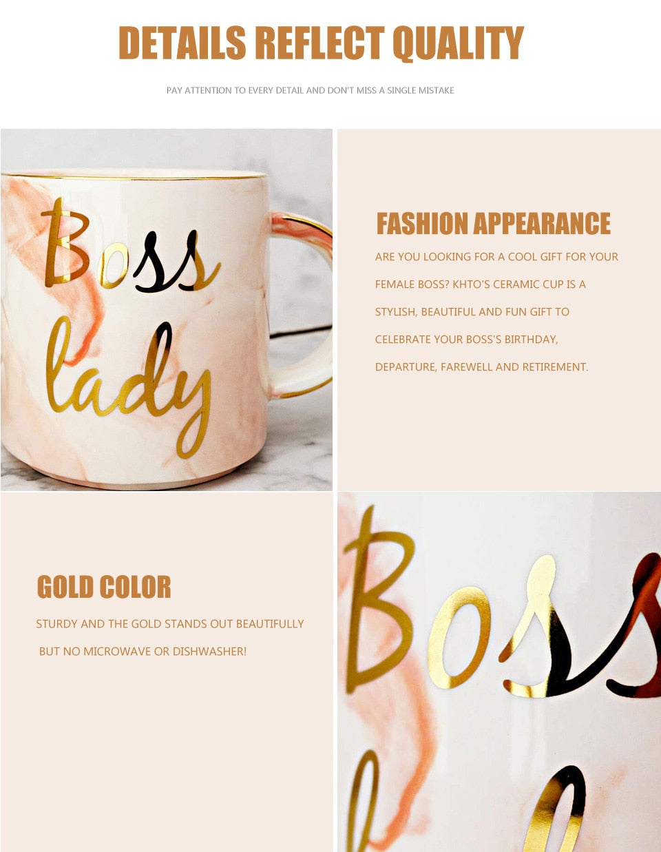 Boss Lady Marble Coffee Mug With Metallic Letters That Gives Back To Charity By ROX