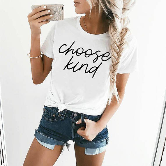 Choose Kind Shirt in White – Kind Shirt – Apparel that Gives Back to Charity by ROX Shirts in Kindness Collection – Positive Apparel – Casual Outfit Ideas