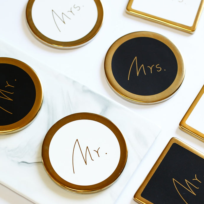 Mr. & Mrs. Gold and White or Black Circle Coasters that Give back to charity by ROX – Wedding Gifts under $25