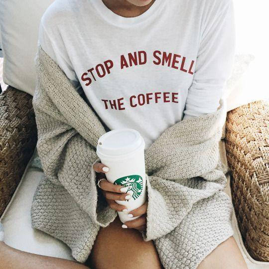 gift ideas for someone that loves coffee under $25 Stop and smell the coffee shirt that gives back to charity