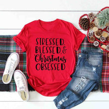 Stressed Blessed and Christmas Obsessed Shirt – Christmas themed Outfit Ideas – Holiday Themed Casual shirts – Cold Weather Outfit Ideas – ROX the gift that gives back™ – Gift Ideas for Her Under $25
