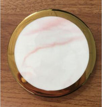 Pink Marble and Gold Circular Coasters that give back to charity by ROX Home Decor - Luxe Modern Home decor ideas under $15